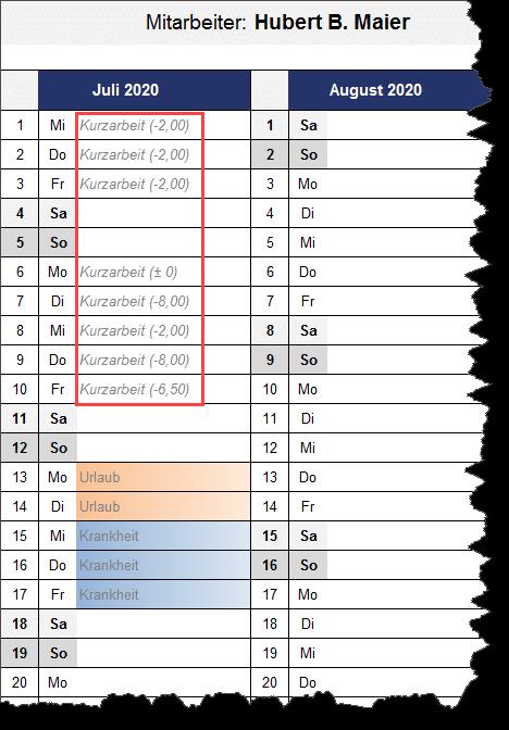 Kurzarbeit auch in individueller Kalenderübersicht