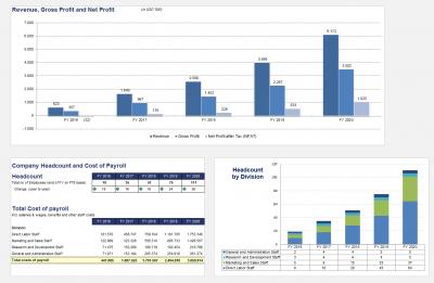 Grafik und Übersicht Umsatz, Gewinn, Personalentwicklung und Personalkosten