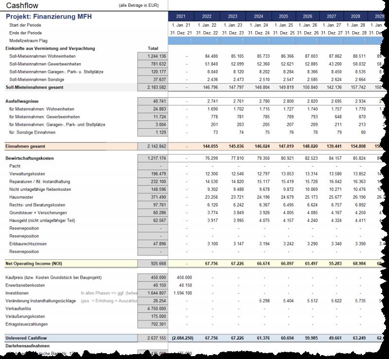 Detaillierte Liquiditätsübersicht (Cashflow) auf Jahres- und Monatsbasis (1)
