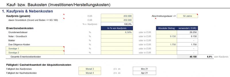 Vorgaben zum Kaufpreis und Nebenkosten