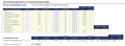 Planungsvorgaben Bewirtschaftungskosten u. Instandhaltungsrücklage