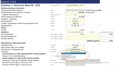 Detaillierte Planungsmöglichkeiten für bis zu 6 verschiedene Darlehen