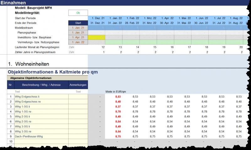 Transparente Berechnung und Darstellung der Qudratmeter-Preise und Mieterlöse