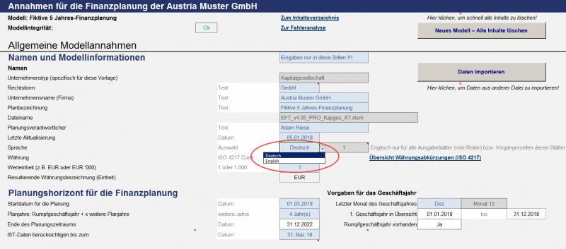 Allgemeine Modellannahmen mit Sprach- u. Währungswahl
