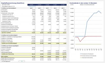 Übersicht Kapitalflussrechnung und Entwicklung der Liquidität