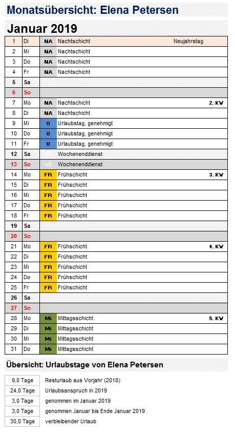 Beispiel Schichtplan - Ausschnitt Monatskalender individueller Mitarbeiter