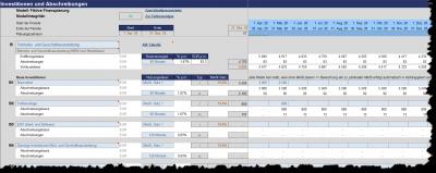 Ausschnitt: Planung Investitionen u. Abschreibungen (AfA)