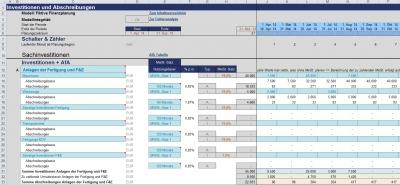 Ausschnitt aus der Investitions- und Abschreibungsplanung