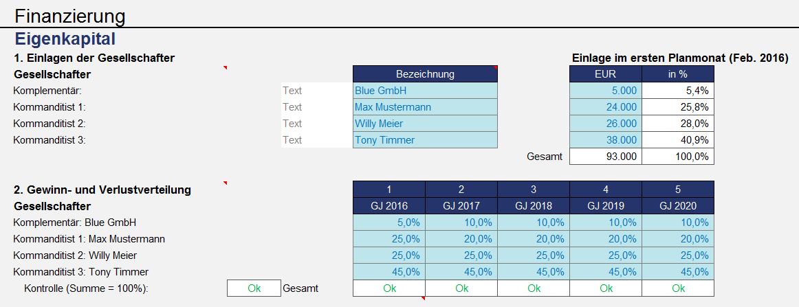 Excel-Finanzplan-Tool (PRO): Screenshots - Fimovi