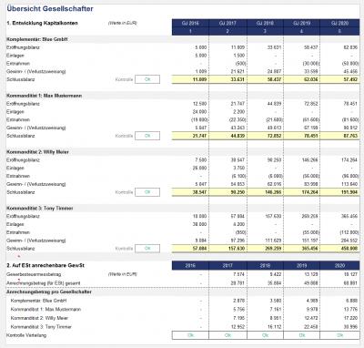 Übersicht Entwicklung der Kapitalkonten (PRO für Personengesellschaften)