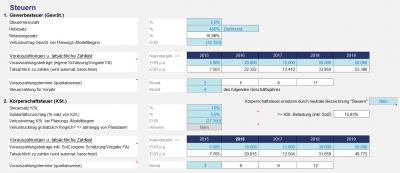 Vorgaben (Annahmen) für die Ertragsteuern (PRO für Kapitalgesellschaften)