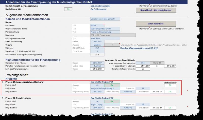 Grundmodellannahmen und allgemeine Vorgaben für einzelnen Projekte