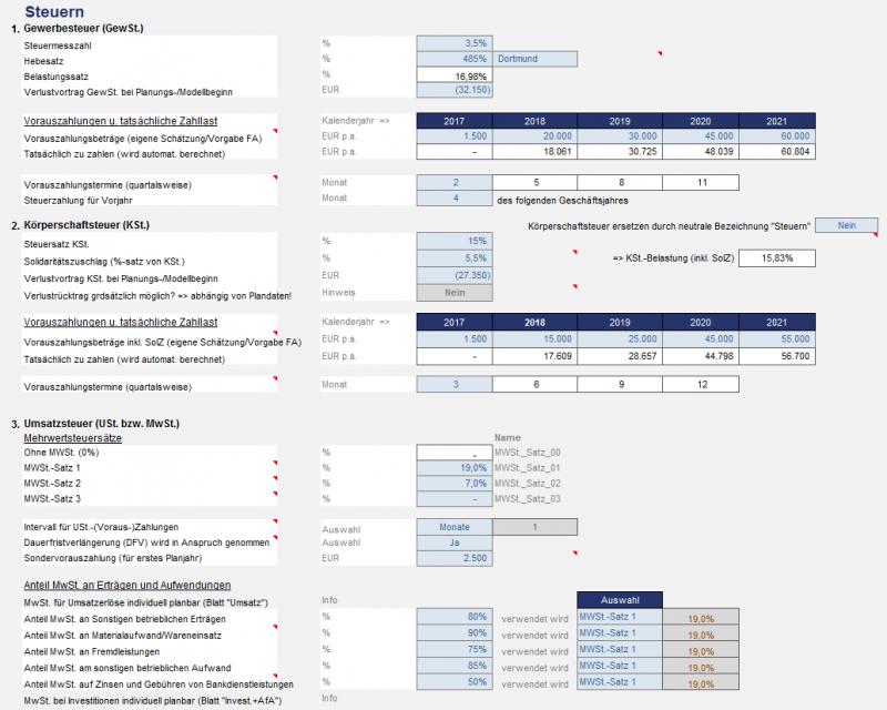 Annahmen Steuern - Ertragsteuern (Körperschaftsteuer + Gewerbesteuer) sowie Umsatzsteuer