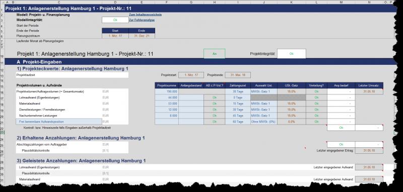Beispiel Projekteingaben: Erträge, Aufwände, Zahlungsziele, Umsatzsteuer etc.