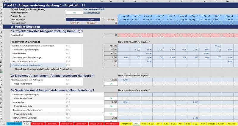 Projektplanungseingaben: Umsätze, Aufwände, Anzahlungen (erhaltene u. geleistete)
