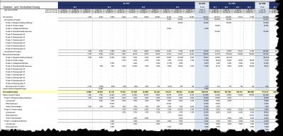 Detaillierte Gewinn- und Verlustrechnung (nach Projekten)