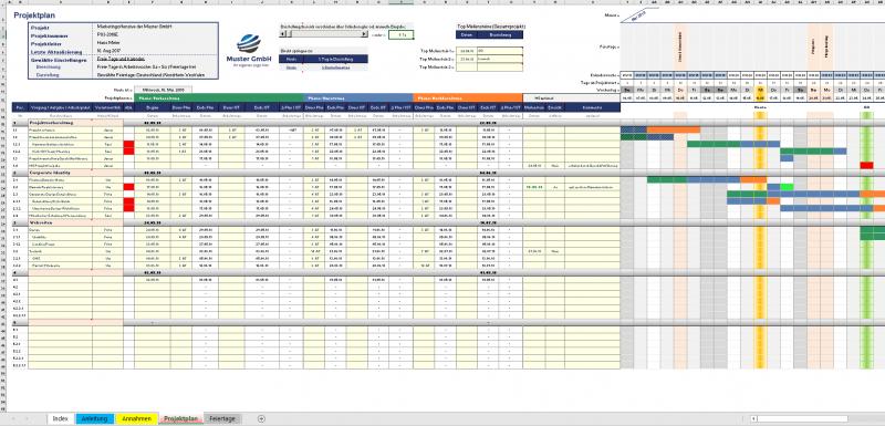 Excel-Projektplanungstool Überblick (Tagesbasis, 3 Phasen)