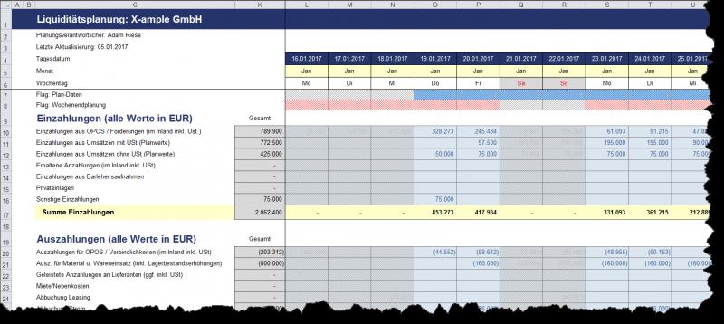 Ein- und Auszahlungsplanung bei der Tages-Version, hier Einstellung Wochenenden nicht planen gewählt