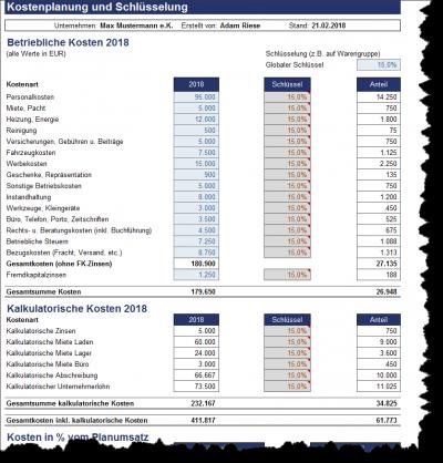 Betriebliche Kosten und deren Schlüsselung