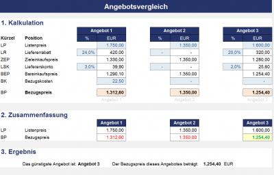Angebotsvergleich - Für Lieferanten mit unterschiedlichen Konditionen