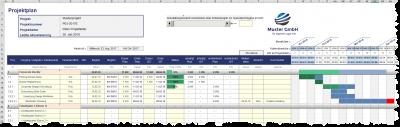 Excel-Projektplanungstool - Wochenbasis mit Projektfortschrittseingabe