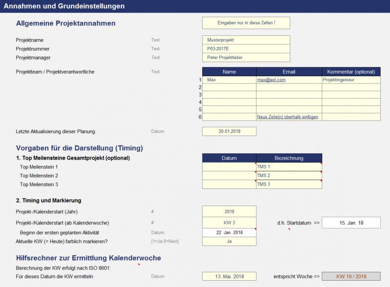 Projektplanungstool - Wochenbasis - Annahmen und Vorgaben