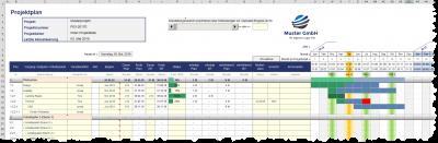 Excel-Projektplanungstool - Monatsbasis mit Projektfortschrittseingabe