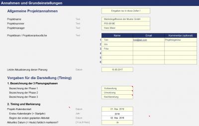 Excel-Projektplanungstool - Annahmen und Grundeinstellungen