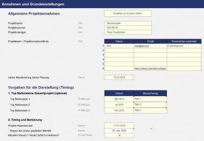 Projektplanungstool - Monatsbasis - Annahmen und Vorgaben