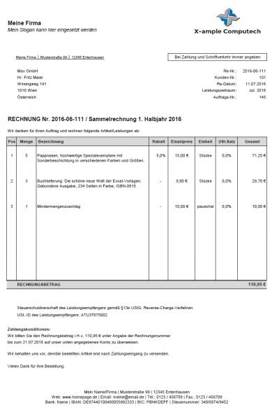 Beispielrechnung - Rechtskonform mit professionellem Layout im DIN-Format