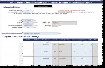 Schnelle Rechnungserstellung via Dropdown-Menus und Eingabezellen