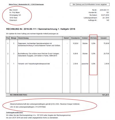 Rechnungsbeispiel - Reverse Charge, Unternehmenskunden im EU-Ausland mit USt.-ID