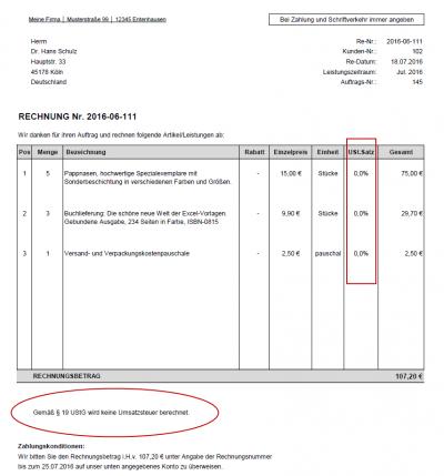 Rechnungsbeispiel - Kleinunternehmer (gem. § 19 UStG) - kein Ausweis von Mehrwertsteuer