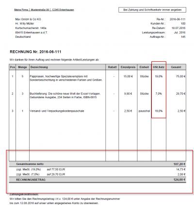 Rechnungsbeispiel - Standard mit ausgewiesener Mehrwertsteuer (2 verschiedene USt.-Sätze)