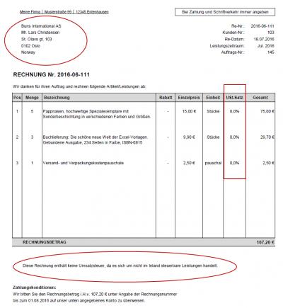 Rechnungsbeispiel - Kunden im Nicht-EU-Ausland - kein Mehrwertsteuerausweis
