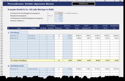 Personalkosten - Gehälter allgemeiner Bereich