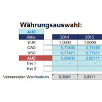 Web-Währungsauswahl