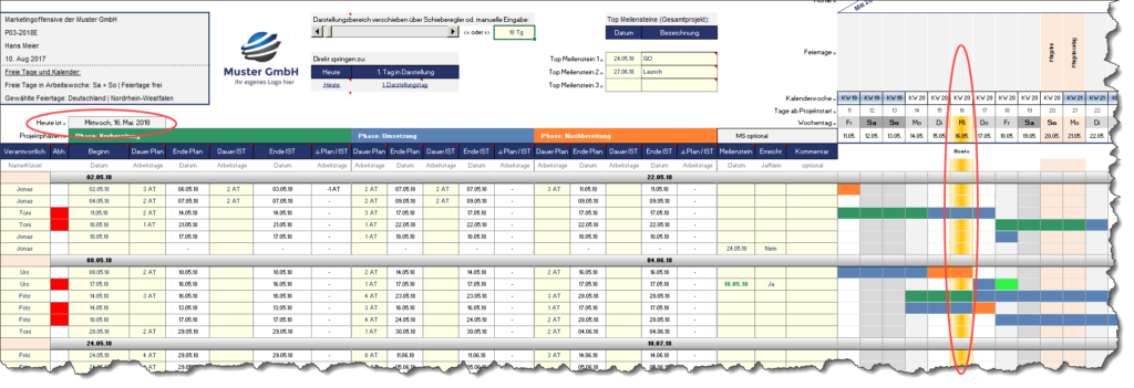 Excel-Projektplanungstool: Details - Fimovi