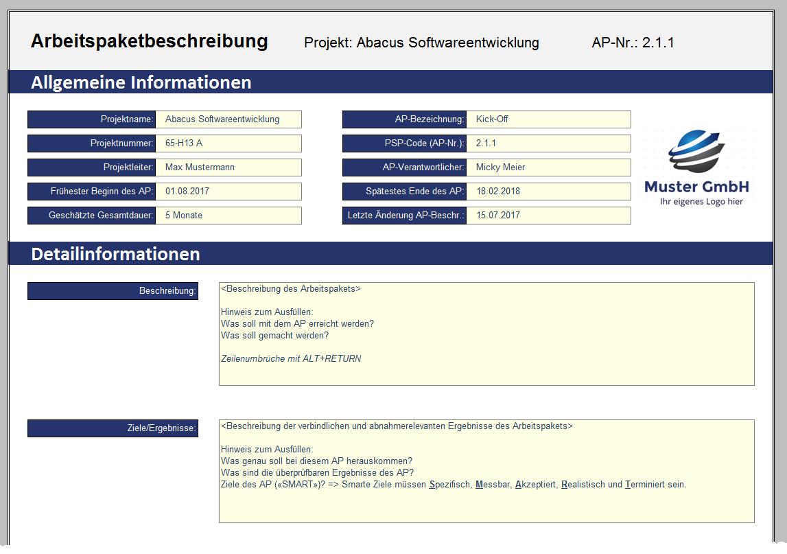 Projektmanagement-Paket: Details, Arbeitspaketbeschreibung - Fimovi